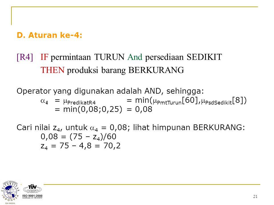 [R4] IF permintaan TURUN And persediaan SEDIKIT